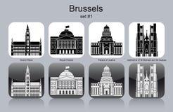 Pictogrammen van Brussel stock illustratie