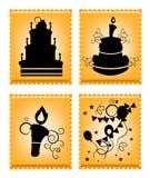 Pictogrammen van cakes op oranje achtergrond Royalty-vrije Stock Foto's