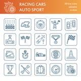 Pictogrammen van de autorennen de vectorlijn Tekens van het snelheids de autokampioenschap Stock Foto's