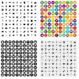 100 pictogrammen van de bierpartij geplaatst vectorvariant Stock Fotografie