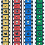 Pictogrammen van de bioskoop de vlakke stijl De Strook van de film royalty-vrije illustratie