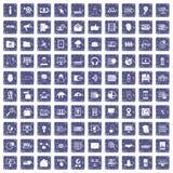 100 pictogrammen van de cyberveiligheid geplaatst grunge saffier Stock Afbeeldingen