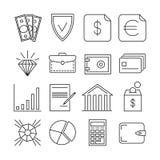 Pictogrammen van de de betalingen de vector dunne lijn van geldfinanciën royalty-vrije illustratie