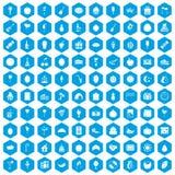 100 pictogrammen van de fruitpartij geplaatst blauw Royalty-vrije Stock Foto