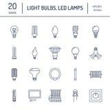 Pictogrammen van de gloeilampen de vlakke lijn Geleide lampentypes, fluorescent, gloeidraad, halogeen, diode en andere verlichtin stock illustratie