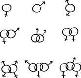 pictogrammen van de homosexueel, lesbisch, biseksueel en de transsexueel royalty-vrije illustratie