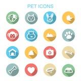 Pictogrammen van de huisdieren de lange schaduw royalty-vrije illustratie