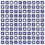 100 pictogrammen van de de lentevakantie geplaatst grunge saffier Stock Foto's
