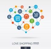 Pictogrammen van de liefde de het winkelen geïntegreerde dunne lijn in hartvorm Digitaal neuraal netwerkconcept royalty-vrije illustratie
