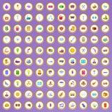 100 pictogrammen van de machtsindustrie die in beeldverhaalstijl worden geplaatst Stock Foto