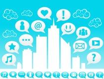 Pictogrammen van de media van de stad de Sociale Stock Afbeelding