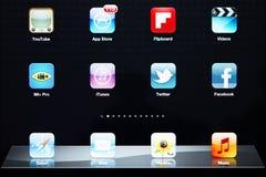 Pictogrammen van de meeste populaire toepassingen op Apple iPad Stock Foto's