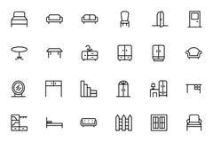 Pictogrammen 1 van de meubilair Vectorlijn Stock Afbeeldingen