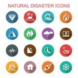Pictogrammen van de natuurrampen de lange schaduw Stock Afbeeldingen