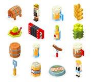 Pictogrammen van de Oktoberfest de isometrische 3d veelhoek lowpoly geplaatst de man van het biervaatje van de het schuimworst va vector illustratie