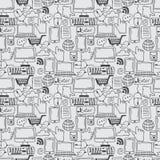 pictogrammen van de patroon de hand getrokken schets voor zaken, Internet a Stock Afbeelding