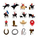 Pictogrammen van de rodeo de Vlakke Kleur stock illustratie