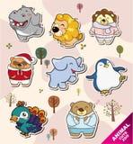 Pictogrammen van de Stickers van het beeldverhaal de dierlijke stock illustratie