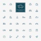 32 pictogrammen van de vervoers minimale lijn Stock Afbeelding