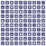 100 pictogrammen van de vrouwengezondheid geplaatst grunge saffier Stock Afbeelding