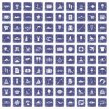100 pictogrammen van de waterrecreatie geplaatst grunge saffier Stock Afbeeldingen