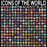 Pictogrammen van de wereld tegen zwarte Stock Foto