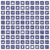 100 pictogrammen van de yogastudio geplaatst grunge saffier Stock Afbeeldingen