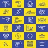 Pictogrammen van diverse elektrische gereedschappen Royalty-vrije Stock Foto