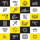 Pictogrammen van diverse elektrische gereedschappen Stock Afbeeldingen