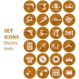 Pictogrammen van diverse elektrische gereedschappen Royalty-vrije Stock Afbeeldingen
