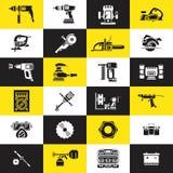 Pictogrammen van diverse elektrische gereedschappen Stock Fotografie