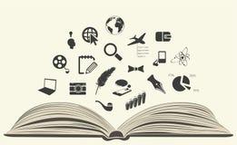 Pictogrammen van een open boek worden getrokken dat vector illustratie