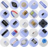 Pictogrammen van elektronische componenten Stock Foto's
