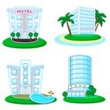 Pictogrammen van gebouwen Royalty-vrije Stock Afbeeldingen