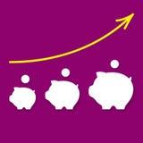 Pictogrammen van geld-dozen en pijl omhoog stock illustratie