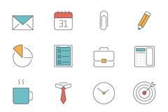 Pictogrammen van het bureau en de Bedrijfsoverzicht Stock Afbeelding