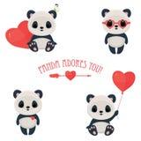 Pictogrammen van het de Dag de leuke Web van heilige Valentine met panda in liefde Stock Afbeelding