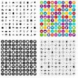100 pictogrammen van het geschiedenismuseum geplaatst vectorvariant Stock Illustratie