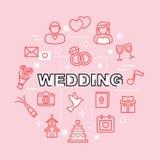Pictogrammen van het huwelijks de minimale overzicht Stock Afbeelding