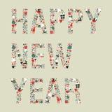 pictogrammen van het jaarKerstmis van 2013 de gelukkige nieuwe Royalty-vrije Stock Foto