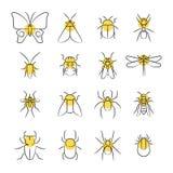 Pictogrammen van het schets de lineaire insect met gele details royalty-vrije illustratie