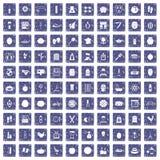 100 pictogrammen van het schoonheidsproduct geplaatst grunge saffier Stock Afbeelding