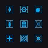 Pictogrammen van het spel de vastgestelde wapen Royalty-vrije Stock Foto