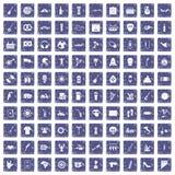100 pictogrammen van het straatfestival geplaatst grunge saffier Royalty-vrije Stock Foto's