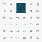 32 pictogrammen van het vervoers minimale overzicht Stock Fotografie