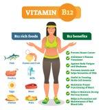 Pictogrammen van het vitamineb12 de rijke voedsel en de gezondheidsvoordelen maken van, gezonde levensstijl informatieve affiche  royalty-vrije illustratie