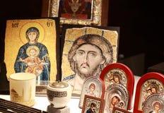 Pictogrammen van Jesus en maagdelijke Mary Stock Foto