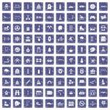 100 pictogrammen van kinderenactiviteiten geplaatst grunge saffier Royalty-vrije Stock Foto