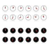Pictogrammen van klok met schaduw vector illustratie