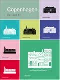 Pictogrammen van Kopenhagen Stock Foto's